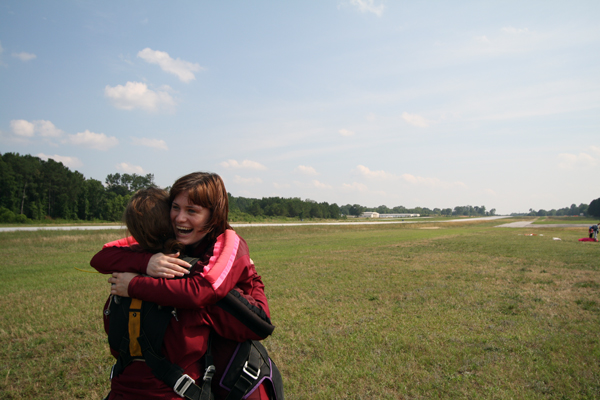 Lauren skydiving smile.