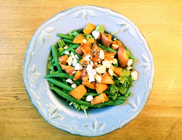 Arugula, Roasted Red and Sweet Potatoes with Rosemary, Green Beans, Brazil Nuts