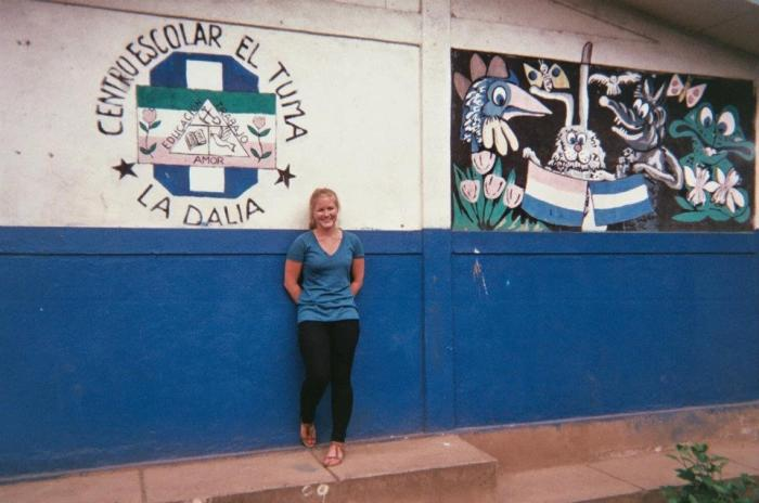 Alisoncita outside the school at her Peace Corps site.