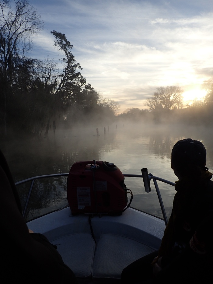 Foggy morning boat ride