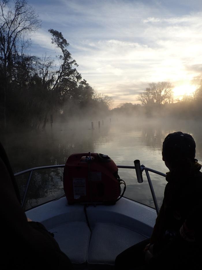 Foggy morning boat ride